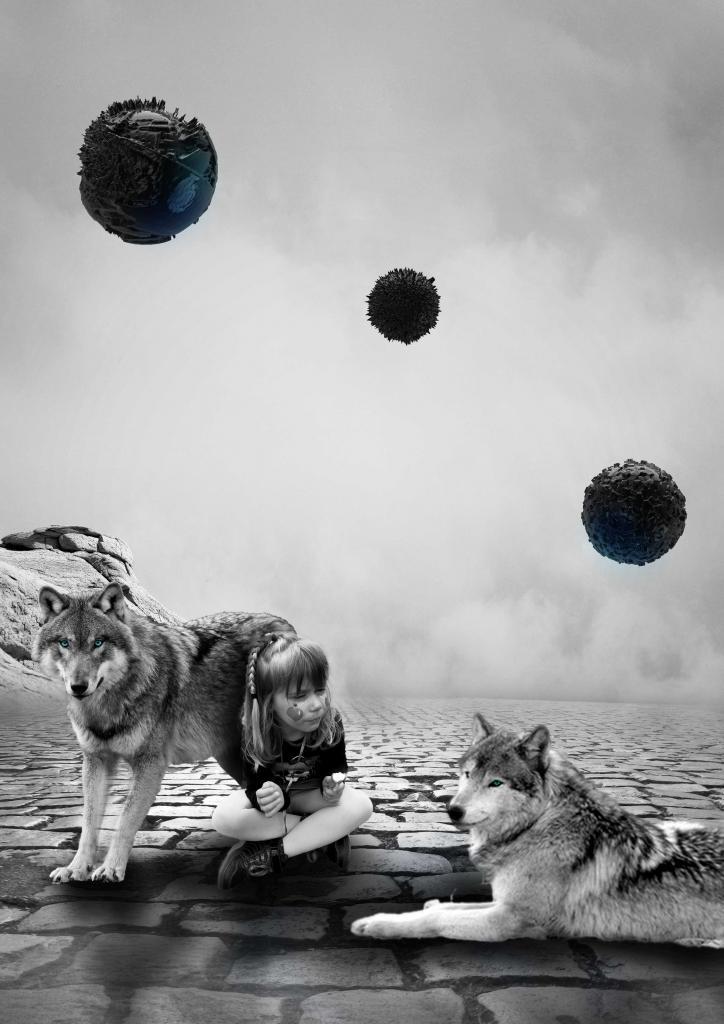 Mise en valeur dans enfant dans un paysage futuriste, montage pao en noir et blanc avec une touche de bleu. Graphiste pao nord pas de calais